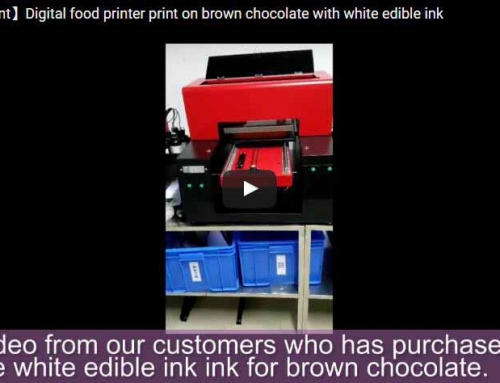 Brown chocolate printing with white edible ink
