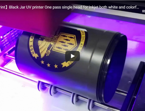 One Pass Single head UV printer for printing on black jar cylinder with high resolution demo video