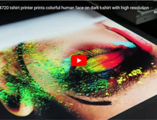2019 newest epson4720 dtg tshirt printer prints colorful human face on dark tshirt by one pass